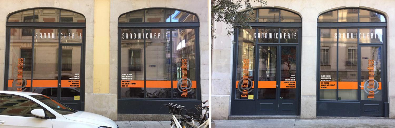 Publicité sur vitrines de restaurant. Création & réalisation des stickers.
