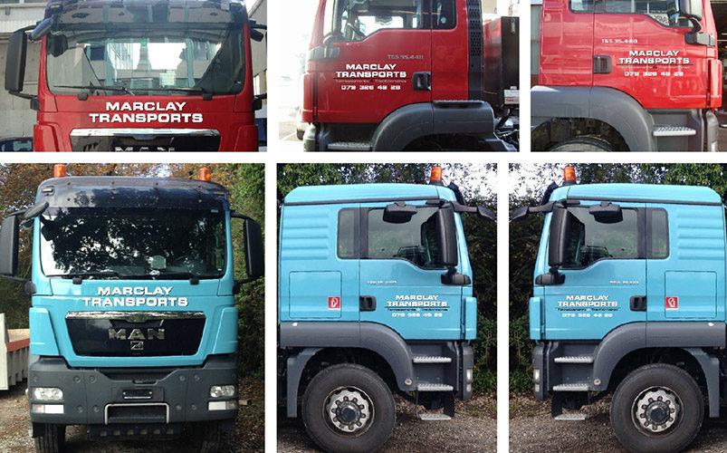 Marquage publicitaire sur camions.