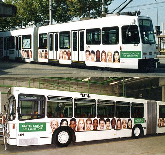 Publicité sur bus TL et tram TPG.