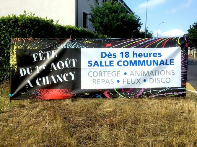 Banderoles en impression numérique pour le village de Chancy, Création du visuel.