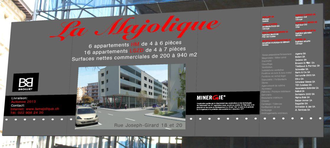 Panneau de chantier pour la ville de Carouge. Fond en aluminium, réalisation en autocollant découpé et impression numérique. Mandat d'architecte / Genève.