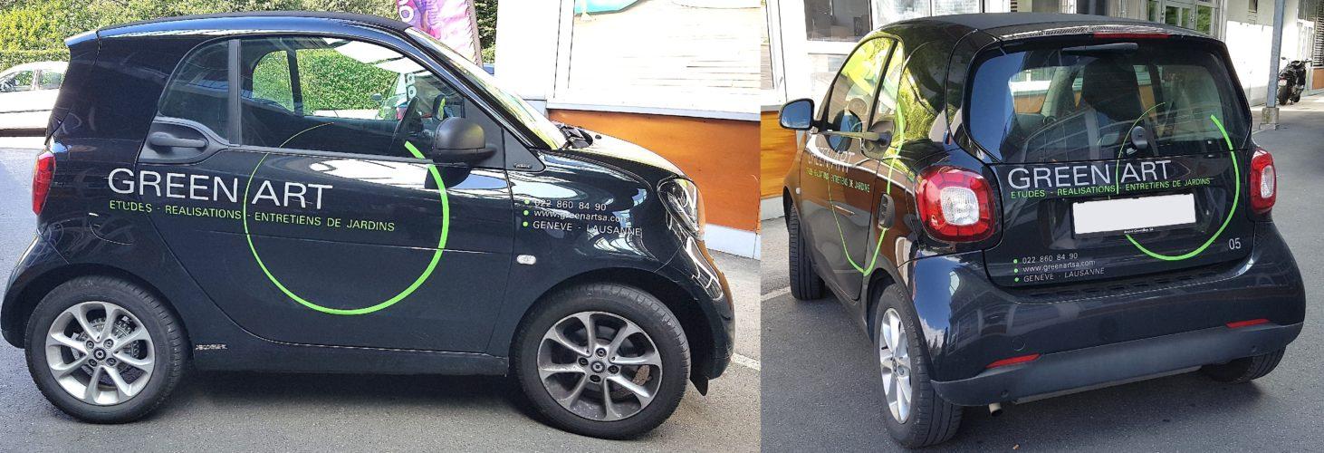 Décoration de voiture SMART. Graphisme - Réalisation des stickers - Pose.