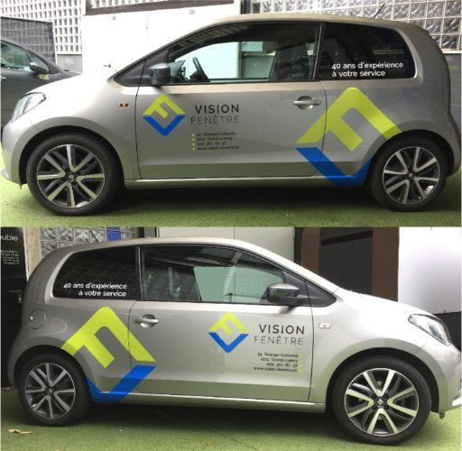 Marquage publicitaire sur véhicule SEAT Mii. Graphisme - Réalisation des stickers en découpe adhésive - Pose.